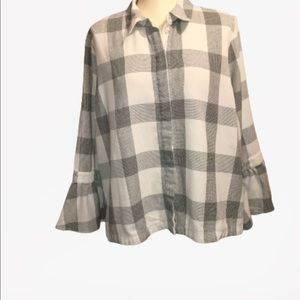 LANE BRYANT black and white button down shirt